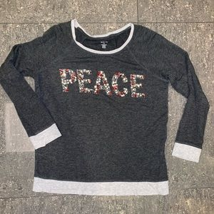 Style and Co. Christmas Sweater Beaded Peace